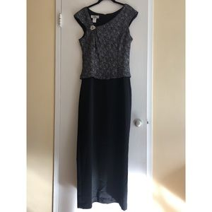 Patra Silver & Black Gown with Pin